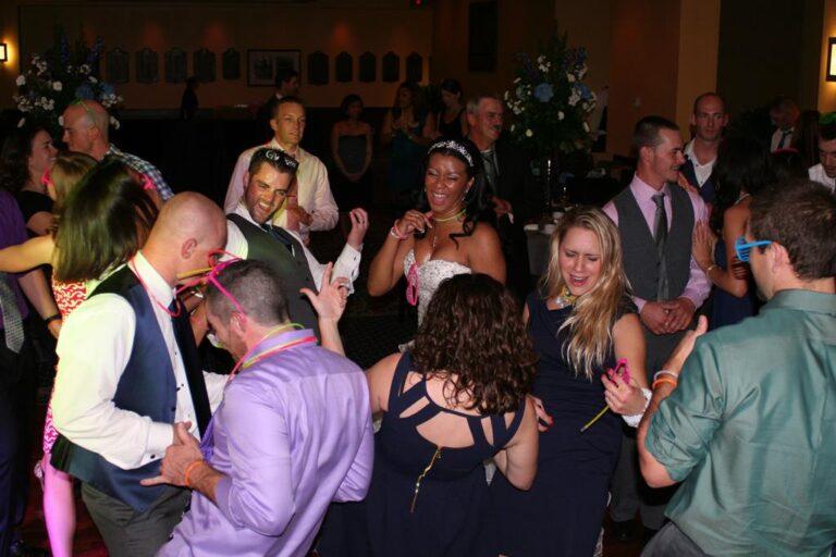 Couple dancing at wedding reception Navy Marine Stadium Annapolis MD DeSantis Entertainment